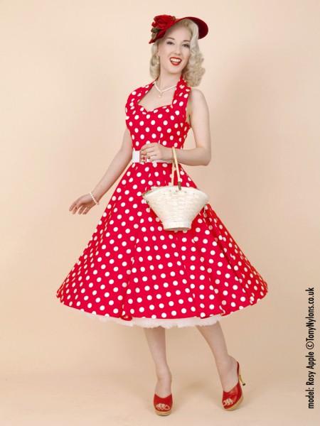 4f85da5f3cf 1950s Halterneck Red Polkadot Dress