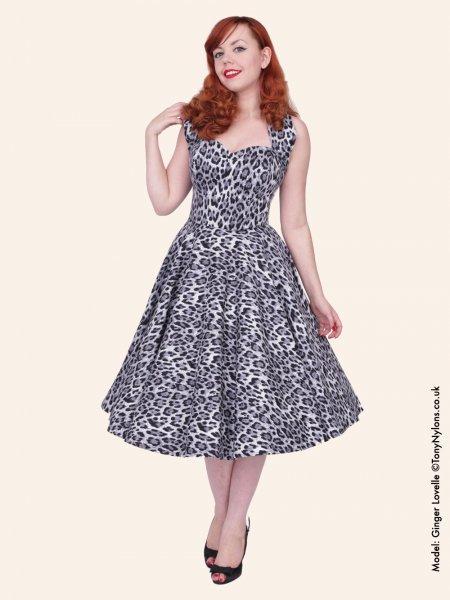 deb345c227c Silver print full circle 1950s reproduction halter neck dress