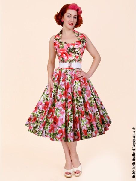 3415ac373b1 Pink sweet roset full circle 1950s reproduction halter neck dress