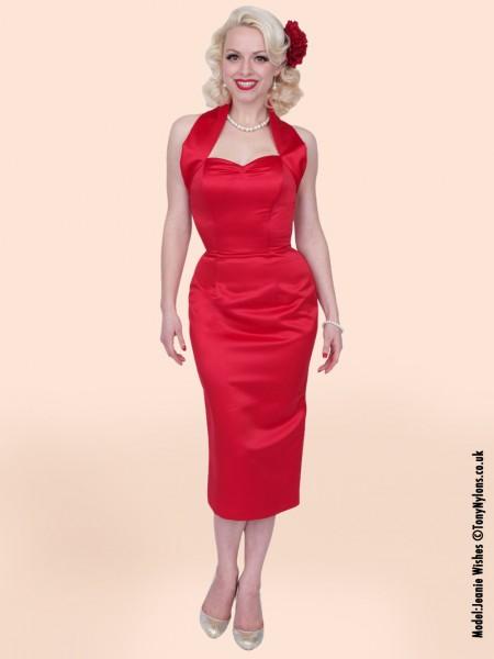14110b37776 Our luxurious red duchess satin pencil dress