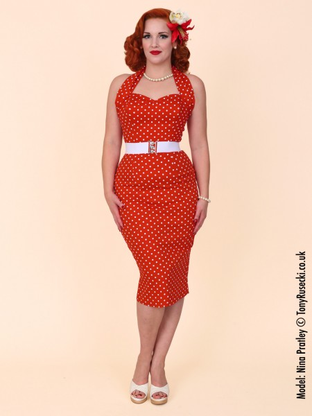 876138499b7 Small red polkadot halterneck pencil dress
