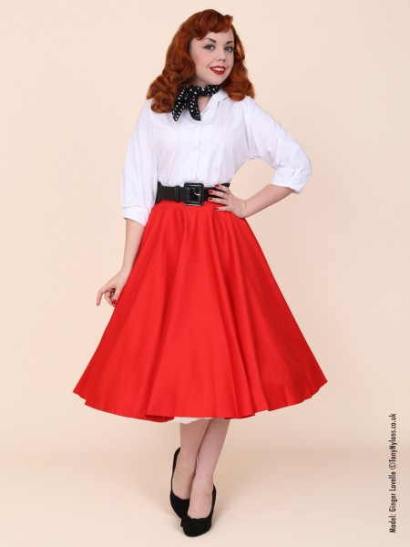 360dd883f98 Red sateen circle skirt